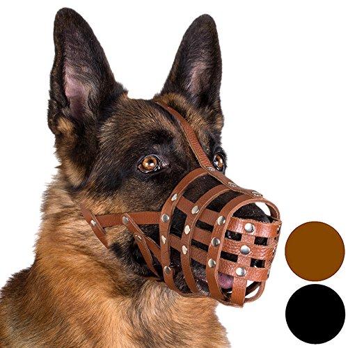 CollarDirect Dog Muzzle German Shepherd Leather Secure Basket (Brown)