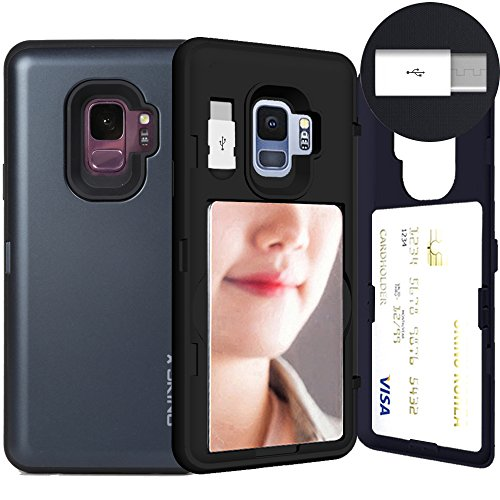 Galaxy S9, SKINU [Galaxy S9 Wallet Case] Galaxy S9 Charger Dual Layer Hidden Credit [S9 Card Case] Holder ID Slot Card Case with Inner USB type C Adapter and Mirror for Galaxy S9 (2018) - Metal Slate
