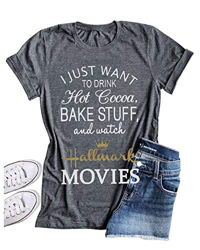 Enmeng Womens Christmas Movie Tees I Just Want to Watch Hallmark Movies T-Shirt Graphic Tees (XL, Grey)