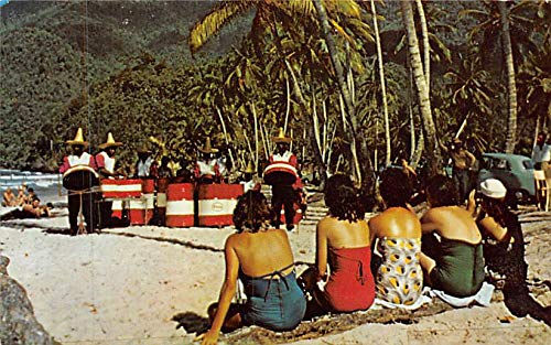 People playing instrumentsat the beach Maracas Bay, Trinidad B.W.I. Postcard Unused