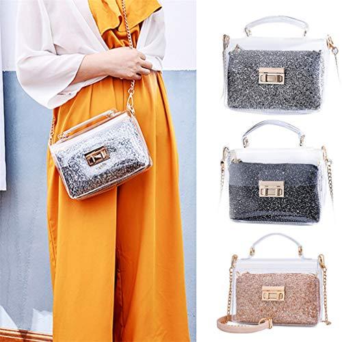 Lentejuelas de Gray Mujer Sobre de Golden con Bag Jelly de de Hombro Bolso OwgxtCC