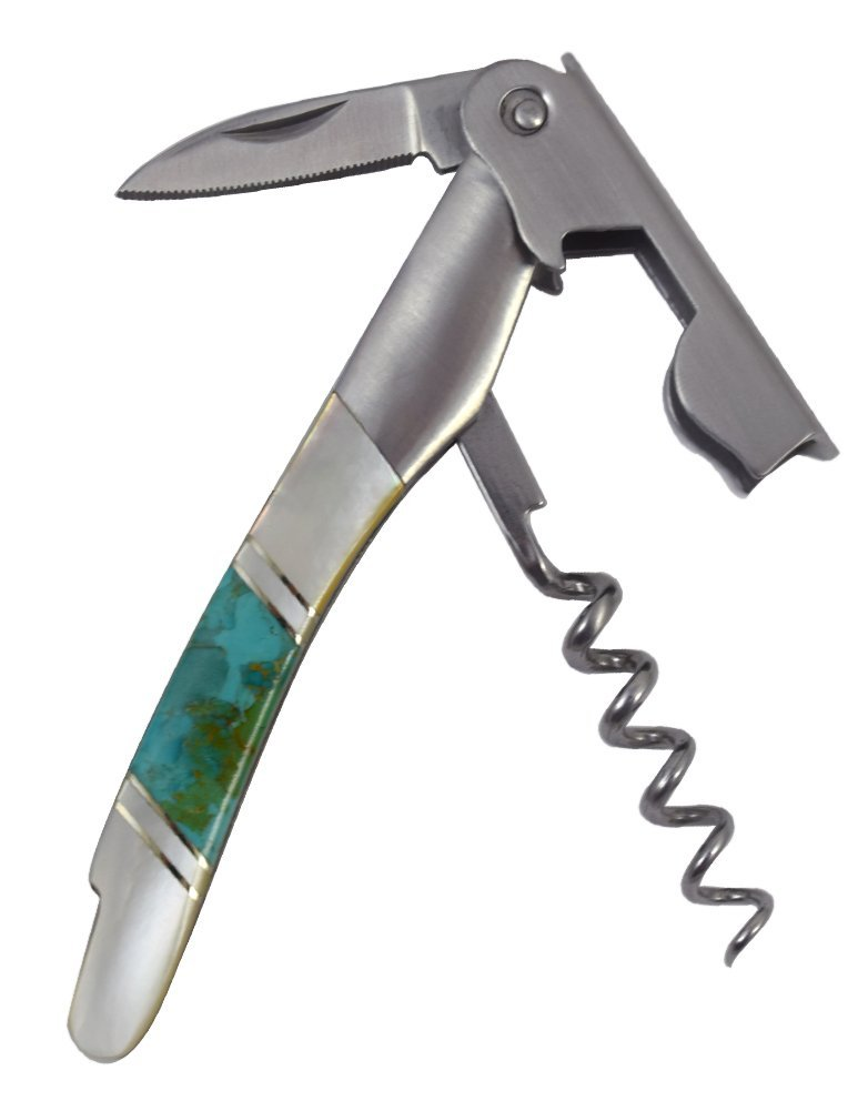 Gemstone Waiter's Knife and Corkscrew Pocket Tool: Classic Turquoise and Mother of Pearl