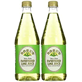 """Rose's sweetened lime juice, 1 liter (33. 8 fluid ounces) plastic bottle (pack of 2) 1 the package weight of the product is 2. 6 pound the package dimension of the product is 13. 3""""l x 7. 3""""w x 3. 7""""h"""
