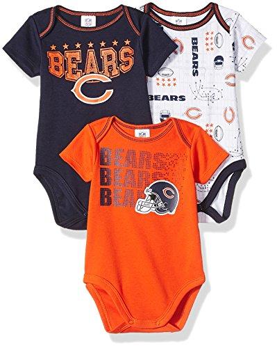 Chicago Bears Nfl (NFL Chicago Bears Boys Short Sleeve Bodysuit (3 Pack), 0-3 Months, Navy)