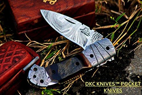 """DKC Knives (24 5/18) Sale DKC-726 Clint Damascus Folding Pocket Knife 4.5"""" Folded 7.5"""" Long 3"""" Blade 8 oz oz"""