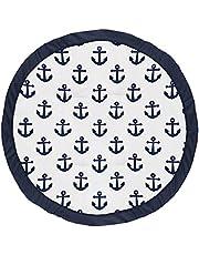 Sweet Jojo Designs Navy Blue White Anchors Boy Girl Baby Playmat Tummy Time Infant Play Mat - Nautical Theme Ocean Sailboat Sea Marine Sailor Anchor Unisex Gender Neutral