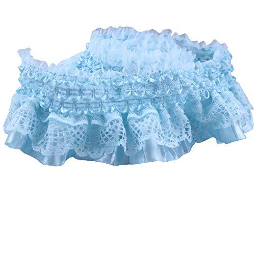 Blue Gathered (Blue Lace Gathered Elastic Pleated Satin Ribbon Trim)