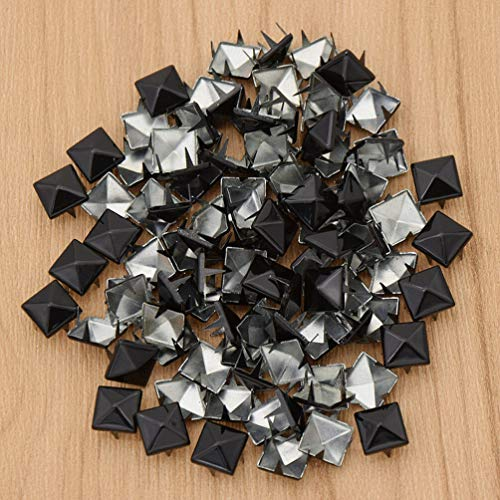 - MOPOLIS Square Pyramid Punk Rivets Spike Spot DIY Accessories Multi Colors Leather Craft | Color - Black