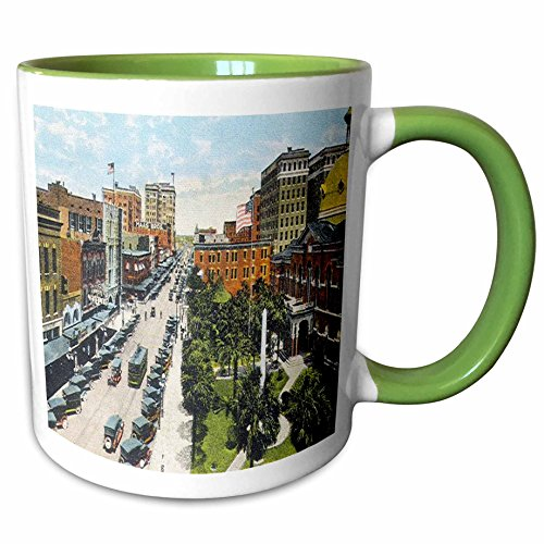 3dRose Sandy Mertens Florida - Tampa, FL Looking North on Franklin Street (Vintage) - 11oz Two-Tone Green Mug - Outlet Tampa Fl