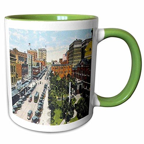 3dRose Sandy Mertens Florida - Tampa, FL Looking North on Franklin Street (Vintage) - 11oz Two-Tone Green Mug - Fl Outlets Tampa