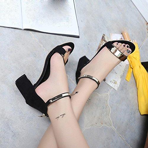 Open talon Femmes épais Chaussures Amlaiworld toe Chaussures Noir Sandales Gladiator 2017 d'été sandales qBFw58cwI