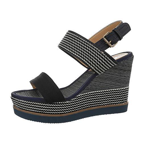 92 Chaussures pour Plateau design Ital femmes D Blau Schwarz Fq85vR