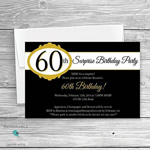 Amazon Com 60th Birthday Invitation Gold And Black Birthday