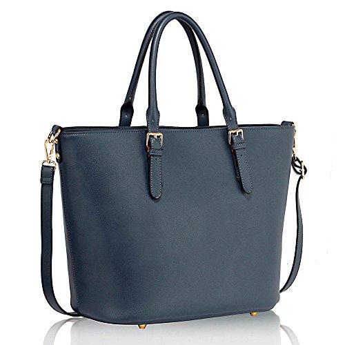 TrendStar - Bolso de tela de piel sintética para mujer azul A - Navy