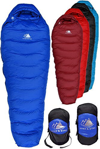 Hyke Byke Down Sleeping Bag for Backpacking – Snowmass 0 Degree F Ultralight Ultra Compact Down Filled 4 Season Mens and Womens Lightweight Mummy Bags