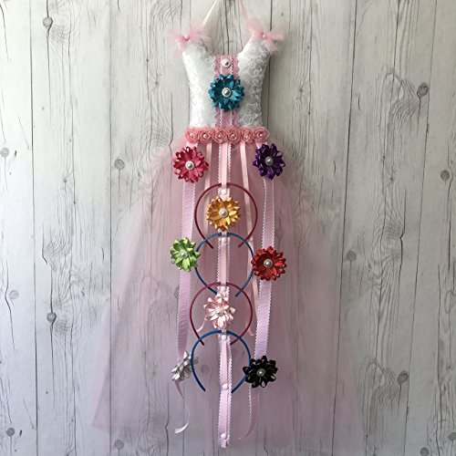 BeadCord All-in-One Pink Tutu Dress Hair Bow Holder Organizer: Hair Accessories Organizer for Headbands, Hair Bows, Hair Clips, and Baby Headbands [T…