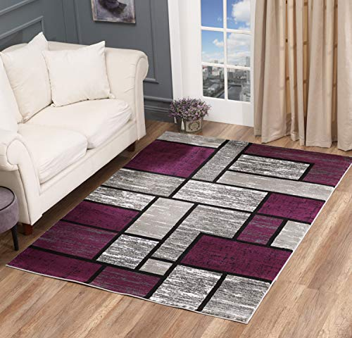 Golden Rugs Area Rug Abstract Modern Boxes Grey Black Purple Carpet Bedroom Living Room Contemporary Dining Accent Sevilla Collection 6614 (5x7, Purple) (Area And Rugs Black Purple)