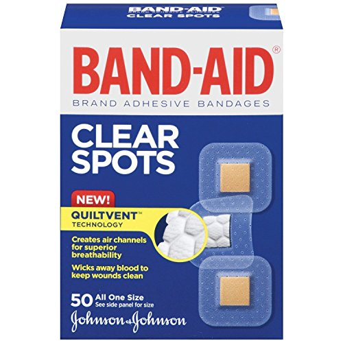 Band-Aid Brand Adhesive Bandages, Clear Spots, 50 Count Per Box (4 Boxes)