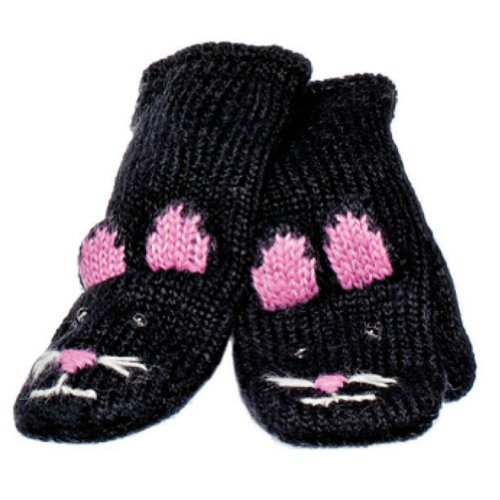 (Knitwits Delux Kiki the Kitty Adult Black Cat Wool Knit Mittens )