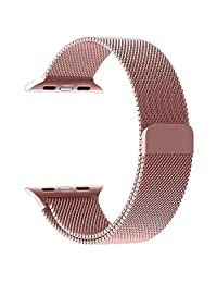 Apple Watch Band Padgene Milanese Loop Stainless Steel Strap Bracelet for Apple iWatch Sport & Edition 38mm All Models with Unique Magnet Lock No Buckle Needed (Gold)