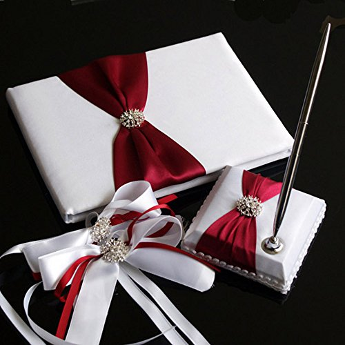 (KateMelon Wedding Accessories Pure Elegance Guest Book and Pen Set with 2 Decorative Satin Bows)
