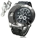 Mens Digital USB Cigarette Lighter Watch Casual Classic Flameless Business Analog Wrist Watch with Leather Band (Black)