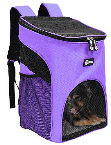 Pet Carrier Backpack for Small Cats Dogs Rabbit, Breathable Mesh Pup Pack Outdoor Travel Carrier for Walk, Hiking, Cycling by Tirrinia Purple