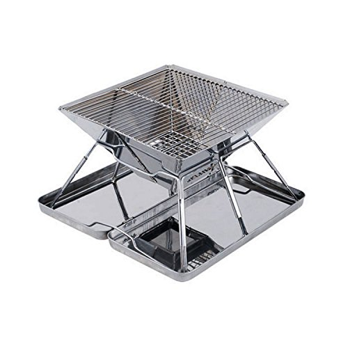Elemart Stainless Steel Folding Charcoal Barbeque Grill Portable Barbeque Grill BBQ + Black Oxford Carrying (Folding Portable Barbecue Grill)