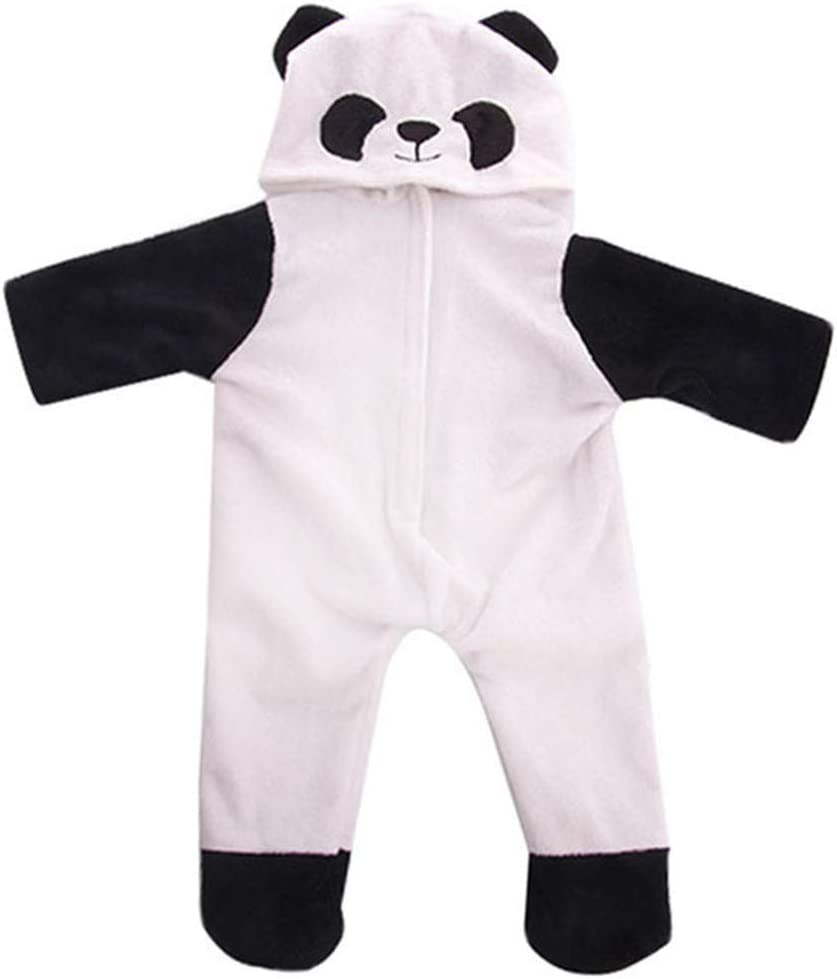 JELEUON 18 Inch American Doll Clothes One Pieces Panda Hoodie Romper Custom Jumpsuit Set Gift for Girls