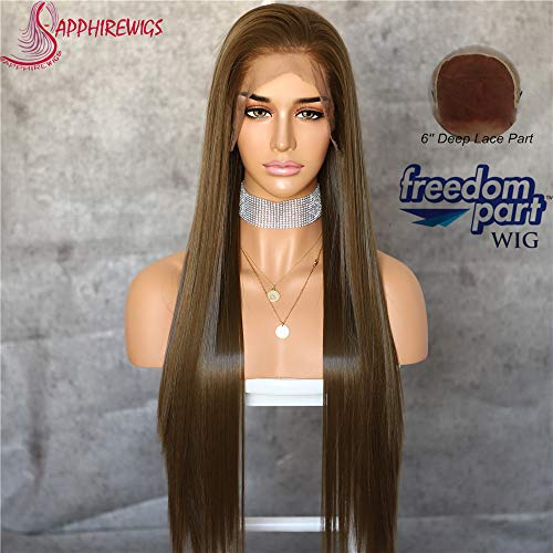 - Sapphirewigs Dark Brown Color Natural Straight Hairline Kanekalon Futura Hair No-Tangle Natural Hairline 6''×13''Big Lace Freedom Part Daily Makeup Women Wedding Hair Synthetic Lace Front Wigs