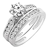 0.95 Carat (ctw) 14K White Gold Round Cut Diamond Bridal Engagement Ring Set 1 CT (Size 7.5)