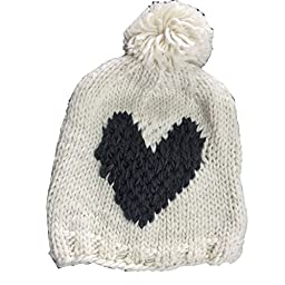 Wiipu Girls Knitting Beige Chunky Hat Beanie Black Heart Cotton Caps(n1355)