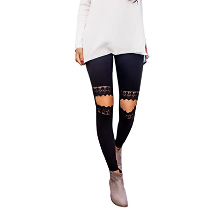 e6af26c892b55 TLoowy Women Leggings, Sexy High Waist Knee Cut Out Lace Knee Leggings  Ripped Skinny Slim