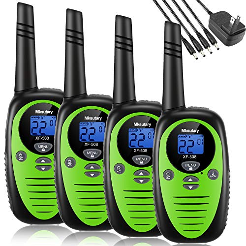 Walkie Talkies Rechargeable 4 Pack, Mksutary walkie talkies for Kids, 2 Way Radios Kids Toys, Long Range 2 Miles, 22 Channels Transceiver with DC Charger for Children Adults Biking Hiking Green
