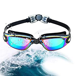 Vsidea Swim Goggles, No Leaking Anti Fog UV Protection Triathlon Swimming Goggles with Comfortable High nose bridge…