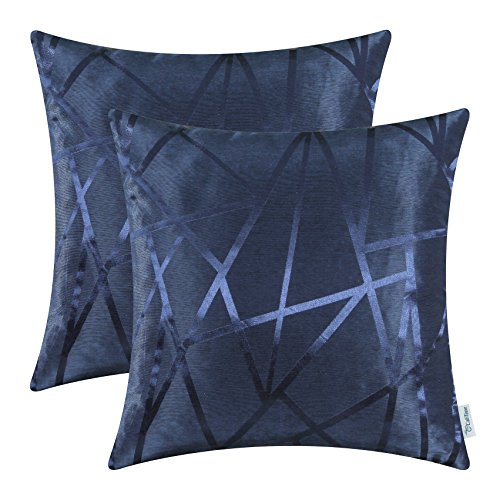 (CaliTime Pack of 2 Throw Pillow Covers Cases for Couch Sofa Home Decor Modern Shining & Dull Contrast Triangles Abstract Lines Geometric 18 X 18 Inches Navy Blue )