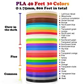 Glow in The Dark 3D Pen Filament Refills PLA - 20 Colors 400 Feet(10 Glow, 6 Fluo, 4 Common) Bonus 250 Stencil eBook - Dikale 3D Pen Filament 1.75mm for Tecboss Nulaxy etc(Does Not Fit 3Doodler)
