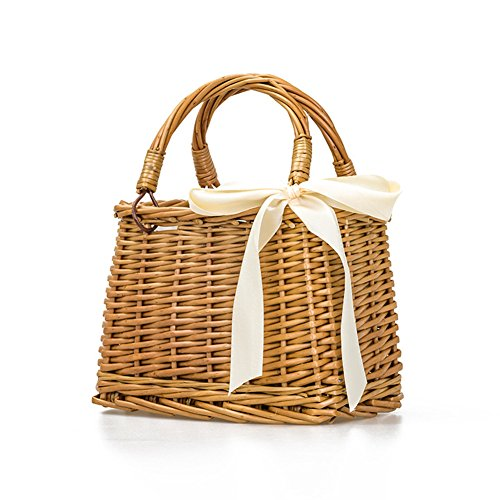 QTMY Bow Rattan Woven Bag Straw Bags Top Handle Handbags Bohemia Style Beach Bag,Beige