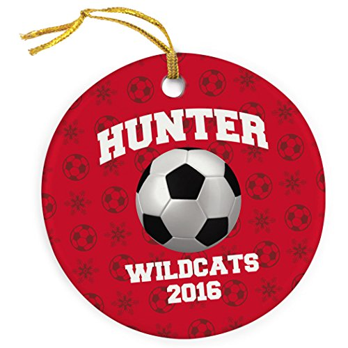 ChalkTalkSPORTS Personalized Soccer Porcelain Ornament | Soccer Ball Name and Number | Red