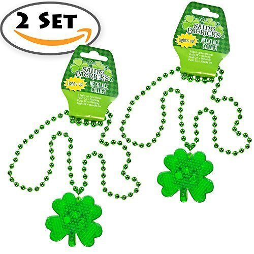 2 Set St. Patrick's Day Plastic Light-Up Shamrock Necklaces, LED Battery Included, Happy Saint Patrick Day Party Play Costume, Bar Decorative Seasonal Green Patty. ()