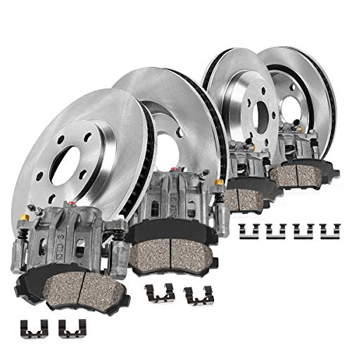 (CCK01720 FRONT + REAR OE [4] Calipers + [4] Rotors + Quiet Low Dust [8] Ceramic Pads Premium Kit)