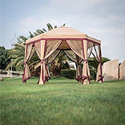 Peach Tree 11.8' x 10.8' Outdoor Patio Iron Gazebo Canopy Garden Backyard Tent with Mesh Side Walls Mesh Curtains Mosquito Netting Red