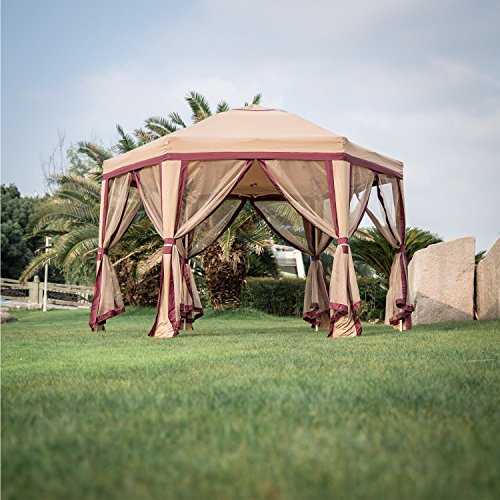 Peach Tree 11.8' x 10.8' Outdoor Patio Iron Gazebo Canopy Garden Backyard Tent with Mesh Side Wa ...