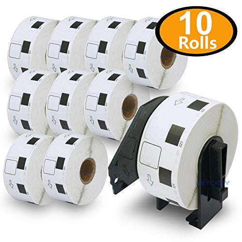 BETCKEY - 10 Rolls Compatible Brother DK-1221 Square Labels 10/11 X 10/11(23mm x 23mm)[10000 Labels With + Two Refillable Cartridge Frame]