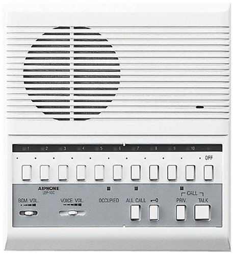 Intercom Master Button (Aiphone LEF-10C Open Voice Selective Call Master Intercom with All-Call and Door-Release Buttons; Semi-Flush Mount; Accepts Up to 10 Connecting Door, Sub-Master, or Master Intercoms)