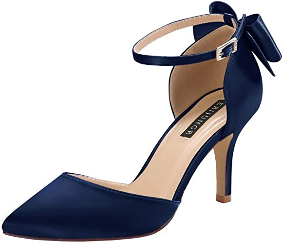 Ankle Strap Wide Width Satin Shoes