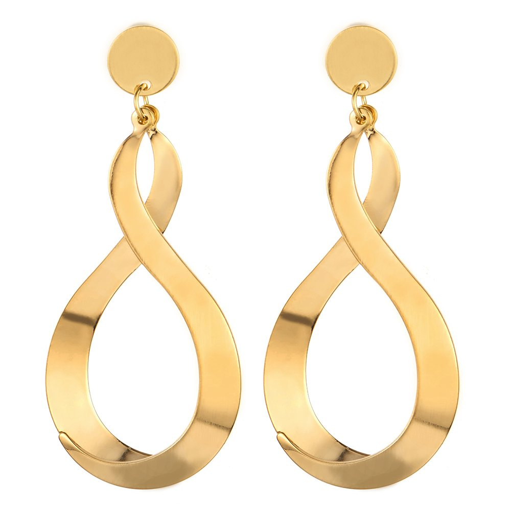 Exquisite Statement Earrings Gold Color Number 8 Infinity Love Large Drop Dangle, Banquet Prom Party