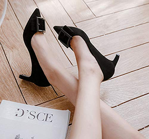 Mode Escarpin Cadeaux Aisun Talon Pointu Femme Chunky Noir Bout gRRq5w0