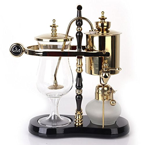 Diguo Belgian/Belgium Luxury Royal Family Balance Siphon/Syphon Coffee Maker. Elegant Double Ridged Fulcrum with Tee handle (Egyptian Black & Gold) by Diguo (Image #3)
