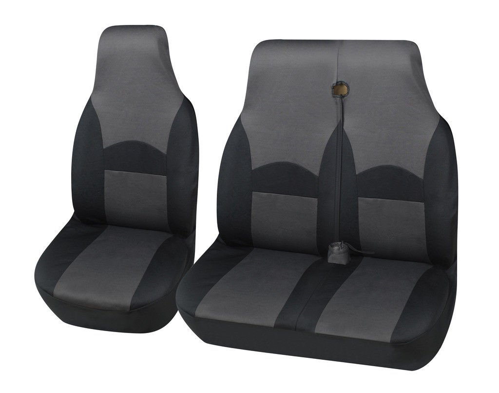 MR E SAVER© Black / Grey Polyester Ohio Van Seat Covers 2+1 MRE21OHIGRY132
